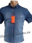 Мужские рубашки джинс короткий рукав - батал Б0021-1