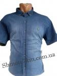 Мужские рубашки джинс короткий рукав - батал Б0021-2