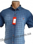 Мужские рубашки джинс короткий рукав - батал Б0022-1