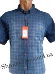Мужские рубашки джинс короткий рукав - батал Б0022-2