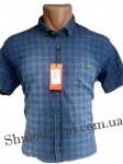 Мужские рубашки джинс короткий рукав - батал Б0022-3