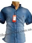 Мужские рубашки джинс короткий рукав - батал Б0023-1
