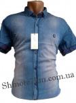 Мужские рубашки джинс короткий рукав - батал Б0023-3