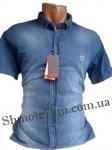 Мужские рубашки джинс короткий рукав - батал Б0024-2