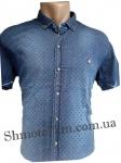 Мужские рубашки джинс короткий рукав - батал Б0028-1