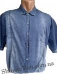 Мужские рубашки джинс короткий рукав - батал Б0038-1