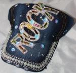 Джинсовая кепка со стразами
