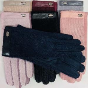 Женские сенсорные перчатки ткань+замш/мех