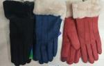 Женские перчатки-замша/сенсор 1016